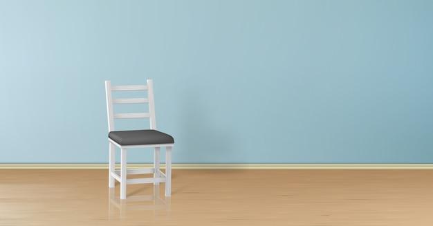 Realistischer spott 3d oben mit dem weißen holzstuhl getrennt auf blauer wand