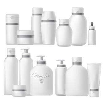 Realistischer spott der kosmetischen flasche eingerichtet. Premium Vektoren