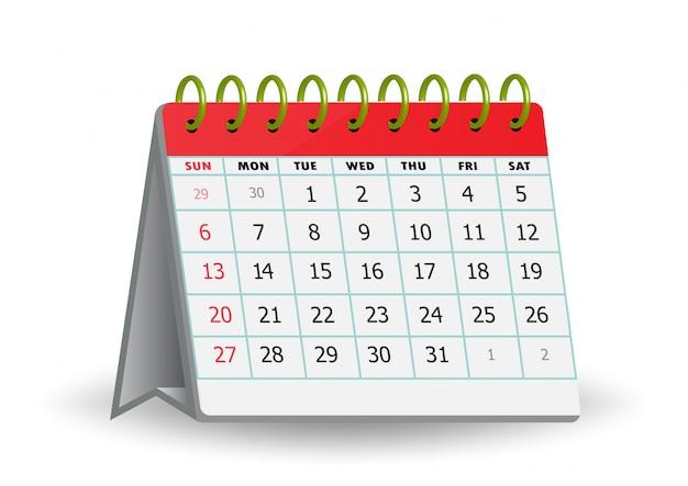 Realistischer standkalender lokalisiert auf hintergrund.