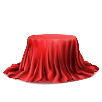Realistischer standplatz bedeckt mit dem roten seidentuch lokalisiert auf weißem hintergrund.