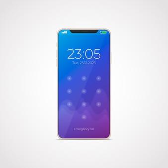 Realistischer stil für smartphone-modell 11 mit apps