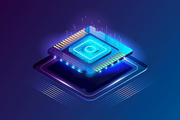 Realistischer stil mikrochip-prozessor hintergrund