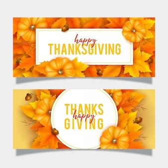 Realistischer stil thanksgiving banner