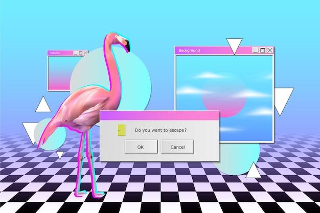Realistischer stil vintage vaporwave hintergrund
