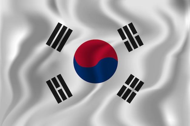 Realistischer südkorea-flaggenhintergrund für dekoration und abdeckung. konzept des glücklichen unabhängigkeitstags.