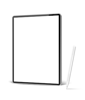Realistischer tablet-computer mit weißem stift für digitale kunst und skizzieren.