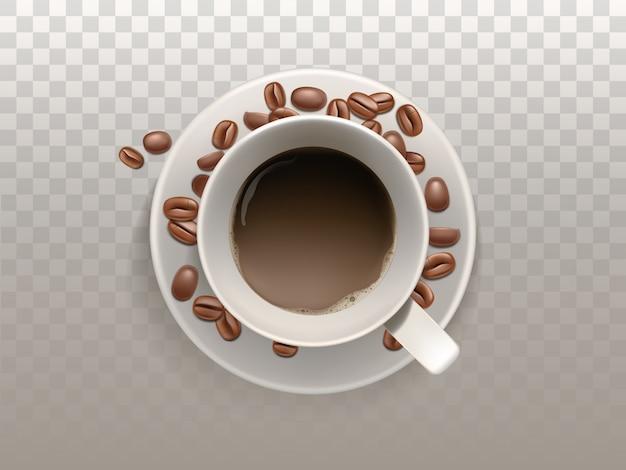 Realistischer tasse kaffee 3d auf der untertasse mit den bohnen getrennt auf lichtdurchlässigem hintergrund.
