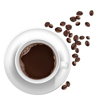 Realistischer tasse kaffee 3d, bohnen