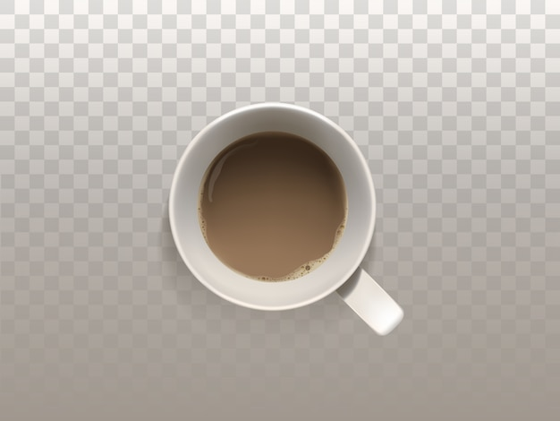 Realistischer tasse kaffee 3d, draufsicht, lokalisiert auf lichtdurchlässigem hintergrund.