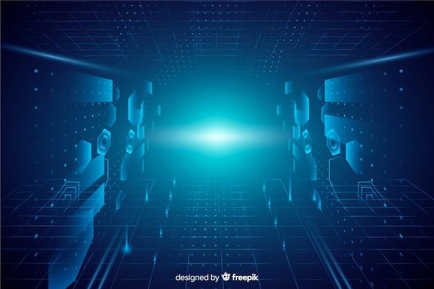 Realistischer technologielicht-tunnelhintergrund
