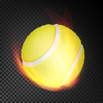 Realistischer tennisball im feuer