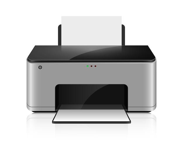 Realistischer tintenstrahldrucker isoalted auf weißem hintergrund