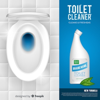 Realistischer toilettenreinigerhintergrund