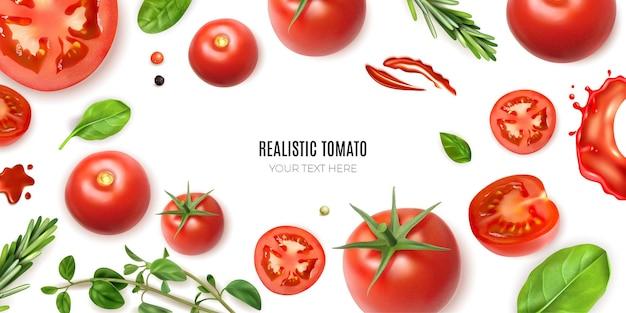 Realistischer tomatenrahmenhintergrund mit bearbeitbarem text, umgeben von isoliertem reifem gemüse und grüns