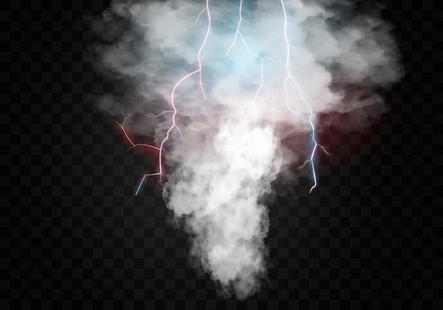 Realistischer tornado mit blitz