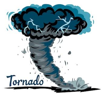 Realistischer tornadowall lokalisiert auf weißer hintergrundvektorillustration