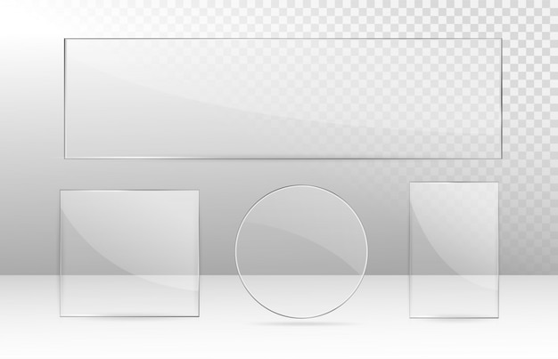 Realistischer transparenter glasfenstersatz. sammlung von glasplatten. acryl- und glasbeschaffenheit mit grellen blicken und licht. rechteckrahmen.