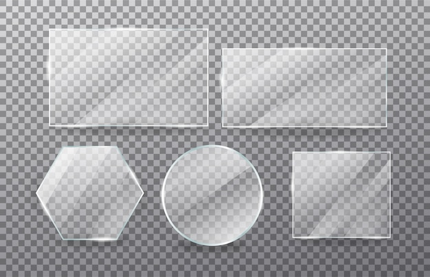 Realistischer transparenter glasfenstersatz