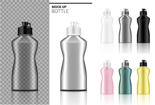 Realistischer transparenter kunststoff in weiß, schwarz und glas