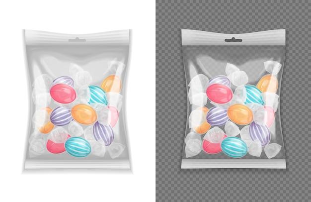 Realistischer transparenter lollypop süßigkeitspaket-satz lokalisiert