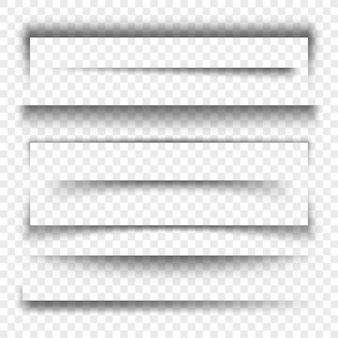 Realistischer transparenter schatteneffekt 3d der papierfahne und der teiler, sammlung