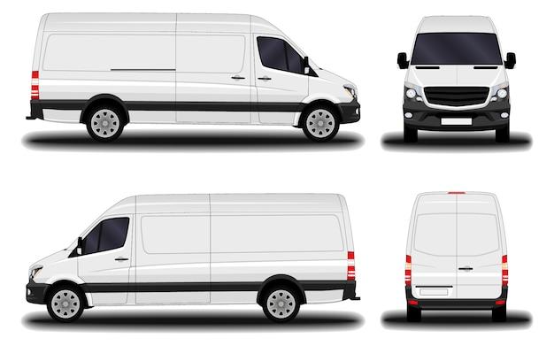 Realistischer transporter. vorderansicht; seitenansicht; rückansicht.