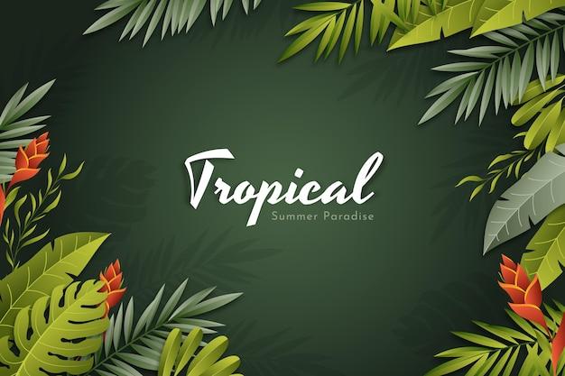 Realistischer tropischer blätterhintergrund