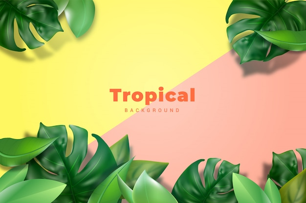 Realistischer tropischer blatt-hintergrund
