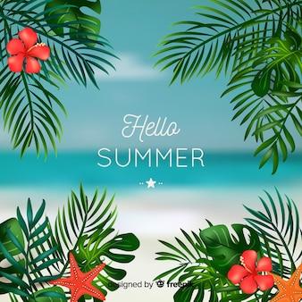 Realistischer tropischer hallo sommerhintergrund