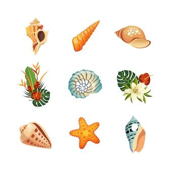 Realistischer tropischer ikonensatz