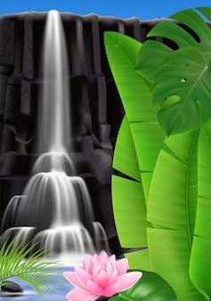 Realistischer tropischer wasserfall mit blatt- und blumenillustration