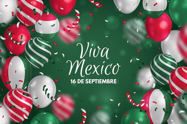 Realistischer unabhängiger hintergrund von mexiko mit luftballons