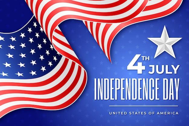 Realistischer unabhängigkeitstag mit flagge