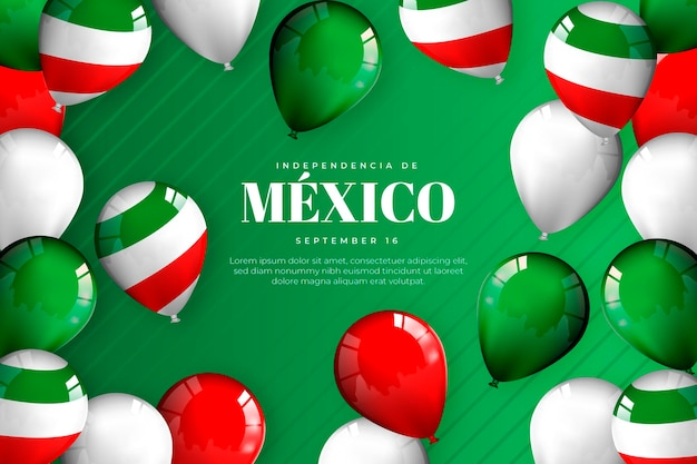Realistischer unabhängigkeitstag von mexiko hintergrund mit luftballons