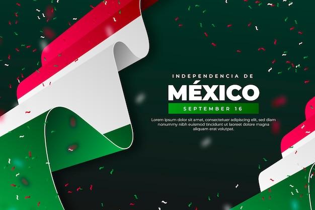 Realistischer unabhängigkeitstag von mexiko-tapete mit flaggen