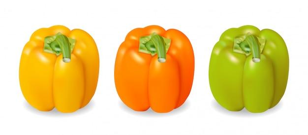 Realistischer und farbenfroher gelber, orangefarbener und grüner pfeffer