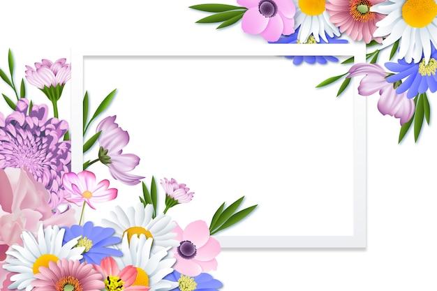 Realistischer und künstlerischer frühlingsblumenrahmen
