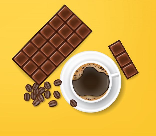 Realistischer und schwarzer kaffee der schokolade, gelber hintergrund