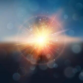Realistischer unschärfehintergrund. abstrakter sonnenuntergang mit defokussierten lichtern. sonnenuntergang am himmel.