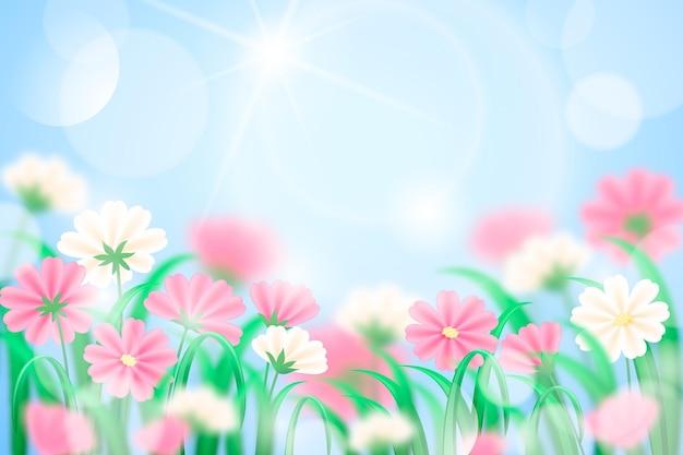 Realistischer unscharfer frühlingshintergrund des blauen himmels