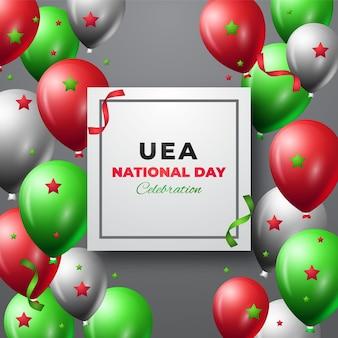 Realistischer vae-nationalfeiertag mit luftballons