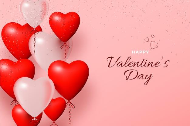 Realistischer valentinstag steigt hintergrund im ballon auf