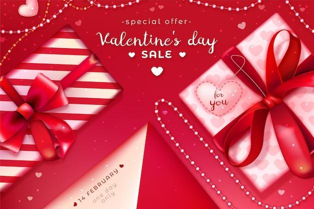 Realistischer valentinstag-verkaufshintergrund