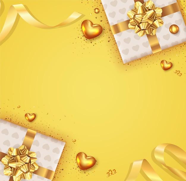Realistischer valentinstaghintergrund mit realistischer geschenkbox-designdekoration