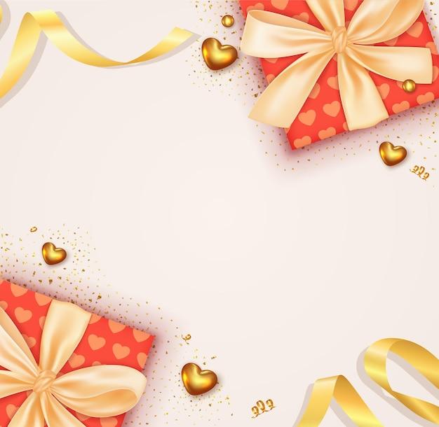 Realistischer valentinstaghintergrund mit realistischer roter geschenkbox-designdekoration