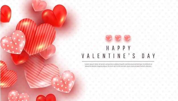 Realistischer valentinstaghintergrund mit weichem rosa und rotem dekor des herzens 3d auf einem weiß