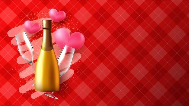 Realistischer valentinstaghintergrund oder -fahne