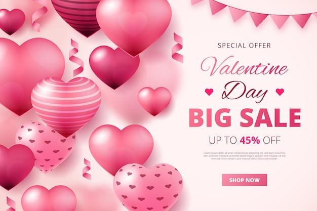Realistischer valentinstagsverkauf