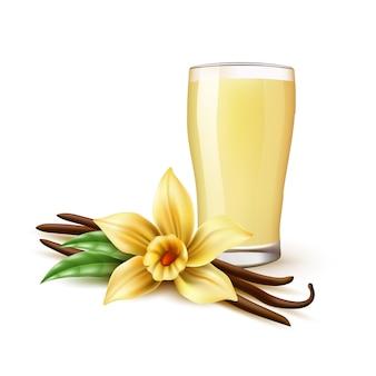 Realistischer vanille-milchshake oder pina-colada-cocktail in glas-vanille-orhid-blumenschoten-bohnenstangen