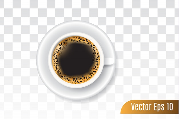 Realistischer vektor 3d des schwarzen kaffees lokalisierte transparentes